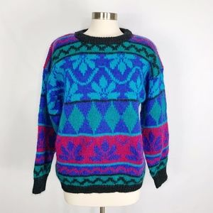 Vintage Gallagher Cosby Style Mohair Blend Sweater